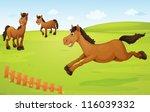 illustration of three horses in ... | Shutterstock .eps vector #116039332