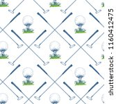seamless golf pattern with... | Shutterstock .eps vector #1160412475