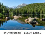 Bear Lake - A sunny summer morning view of a rocky section of Bear Lake, Rocky Mountain National Park, Colorado, USA. - stock photo