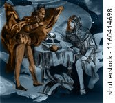 faust and devil. an hand drawn... | Shutterstock . vector #1160414698
