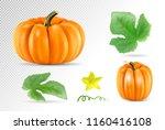 set vegetable pumpkins with... | Shutterstock .eps vector #1160416108