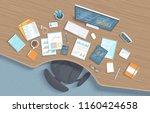 top view of wooden office... | Shutterstock .eps vector #1160424658
