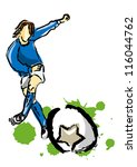 Illustrations soccer players kick the ball
