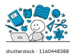 hand drawn school elements with ... | Shutterstock .eps vector #1160448388