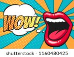 female mouth with speach bubble.... | Shutterstock .eps vector #1160480425