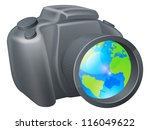 Camera globe concept, camera with globe in lens, could be for travel photography, a photography holiday or trip, or internet photography concept. - stock vector