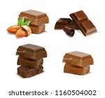 chocolate. pieces  shavings.... | Shutterstock .eps vector #1160504002