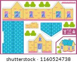 cut and glue the paper a house. ... | Shutterstock .eps vector #1160524738