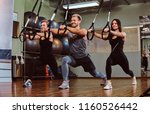 group of people exercising with ... | Shutterstock . vector #1160526442