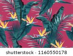 blue tropical leaves with... | Shutterstock .eps vector #1160550178