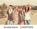 hippie group walking on a... | Shutterstock . vector #116055202