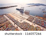 aerial view of a cargo dock | Shutterstock . vector #116057266