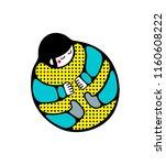 strange human in beattle pose.... | Shutterstock .eps vector #1160608222