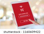 hand typing discount coupon... | Shutterstock . vector #1160609422