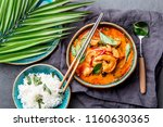 thai shrimps red curry.... | Shutterstock . vector #1160630365