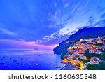 view of positano village along... | Shutterstock . vector #1160635348