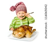 Funny Child Eating Tasty Turke...
