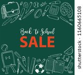 stationary sale  back to school ... | Shutterstock .eps vector #1160665108