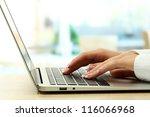 female hands writing on laptot  ... | Shutterstock . vector #116066968