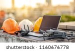 drone  remote control  laptop... | Shutterstock . vector #1160676778