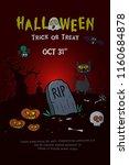 halloween poster design with... | Shutterstock .eps vector #1160684878
