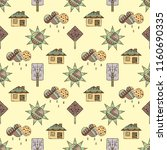 hand drawn seamless pattern ... | Shutterstock . vector #1160690335