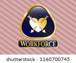 gold badge or emblem with... | Shutterstock .eps vector #1160700745