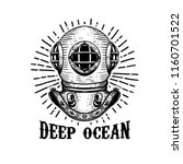 deep ocean. old style diver... | Shutterstock .eps vector #1160701522