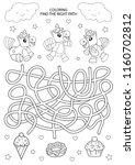 children maze and coloring.... | Shutterstock .eps vector #1160702812