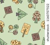hand drawn seamless pattern ... | Shutterstock . vector #1160707522