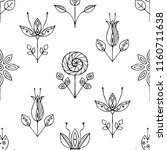 hand drawn seamless pattern ... | Shutterstock . vector #1160711638