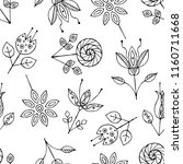 hand drawn seamless pattern ... | Shutterstock . vector #1160711668
