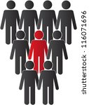 one person standing out from... | Shutterstock . vector #116071696