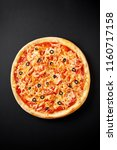 pizza margarita with tomatoes ...   Shutterstock . vector #1160717158