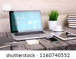 stylish workspace with computer ...   Shutterstock . vector #1160740552