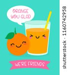 cute orange and orange juice... | Shutterstock .eps vector #1160742958