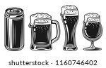 beer glass  mug and can set of... | Shutterstock .eps vector #1160746402