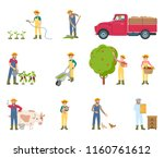 farmer with rake and watering... | Shutterstock .eps vector #1160761612