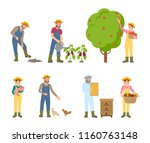 farmers woman and man farming... | Shutterstock .eps vector #1160763148