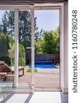 view through window on terrace...   Shutterstock . vector #1160780248
