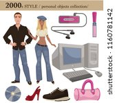 2000 fashion style man and... | Shutterstock .eps vector #1160781142