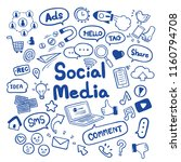 social media hand drawn doodles ... | Shutterstock .eps vector #1160794708