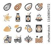 almond icon set | Shutterstock .eps vector #1160804272