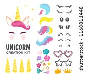 unicorn creation kit of cute... | Shutterstock .eps vector #1160811448