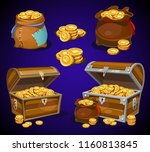 golden coins in moneybags and...