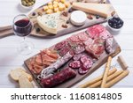 assortment of cheese and... | Shutterstock . vector #1160814805