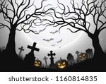 halloween background with... | Shutterstock .eps vector #1160814835