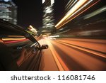 night drive with car in motion. | Shutterstock . vector #116081746