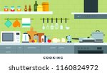 kitchen interior. working... | Shutterstock .eps vector #1160824972
