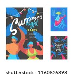 summer night party poster with... | Shutterstock .eps vector #1160826898